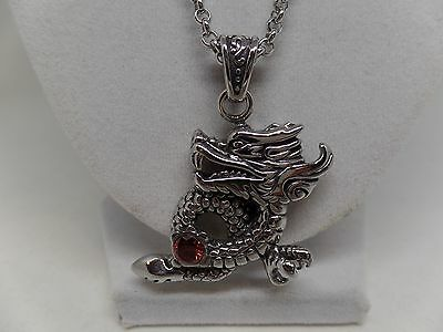 Fantastic Red Crystal Titanium Dragon Necklace! New!