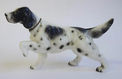 SETTER Dog Figurine w/ METAL CHAIN COLLAR & TAG Vintage Porcelain Ceramic