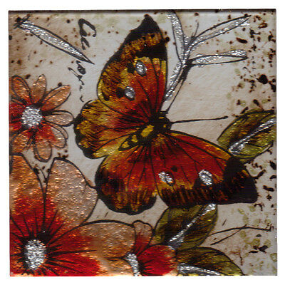 Set of 4 Square Glass Drinks Coasters - Red Admiral Butterfly