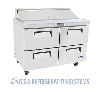 "Atosa 48"" Commercial Four Drawer Salad & Sandwich Prep Table Cooler MSF8311"