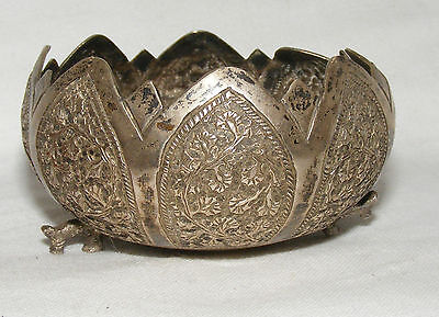 Antique Solid Silver Indian Or Persian Footed Bowl Foliate Decoration