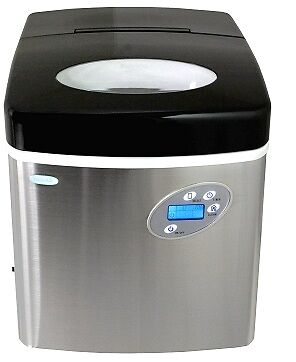 NewAir AI-215SS Stainless Steel Portable Ice Maker w/ Removable Ice Bin
