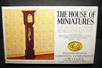 "THE HOUSE OF MINIATURES William and Mary Tall Case Clock  #40018 1"" to 1' 1/12"