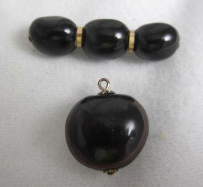 Antique Victorian Faux Tortoise Shell Pin W/ Gp Accents & Matching  Pendant
