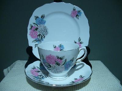 Royal Vale Vintage Hydrangea Trio - Cup Saucer Plate - England - Vg Condition