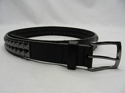 "Black - Studded - Faux Leather - Youth Size Large - 1"" Belt!"