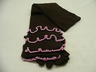 Brown With Pink Ruffle - Girls Size 4-6 - 2 Piece Set - Gloves & Scarf!