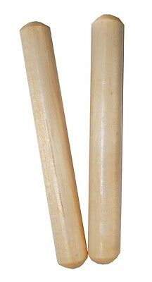 """20 X MANO PERCUSSION - Wooden Round 6"""" Claves Educational, Pair, Natural Finish"""
