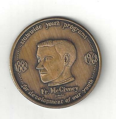 1968 KNIGHTS OF COLUMBUS K C FATHER McGIVNEY BRONZE COIN MEDAL TOKEN MEDALLION