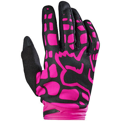 2017 Fox MX Youth Girls Dirtpaw Race Gloves - Black/Pink Motocross Offroad Trail