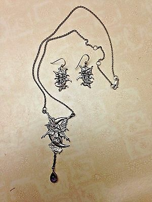 Sterling Silver Amy Brown Fairy On The Moon Necklace And Earrings