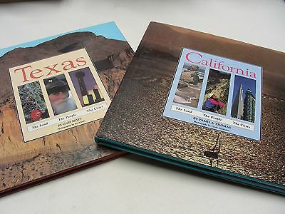Lot Of 2 - California & Texas - The Land, People & Cities - 11 X 11 Table Books!