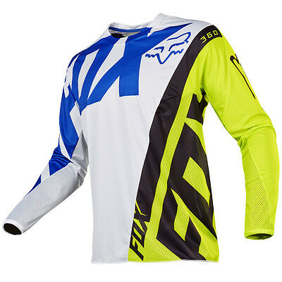 2017 Fox MX Mens 360 Jersey - Creo White/Yellow Motocross Offroad Trail Enduro