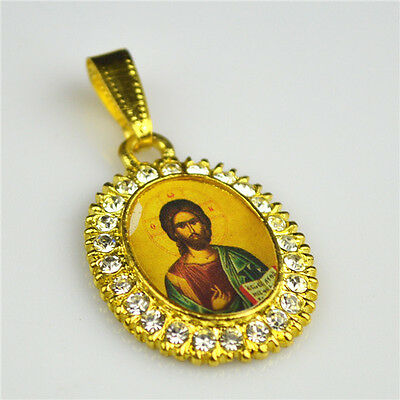 Gold Plated & diamonte Pendant With Orthodox Holy Jesus Picture
