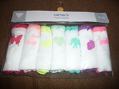 NEW Carters girls size 4-5T 7 pack panties underwear~fruit/animals NWT