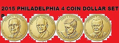 2015 P Complete 4 Coin Presidential Dollar Set