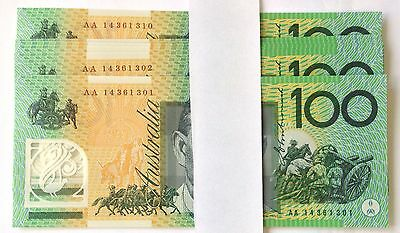 2014 $100 AA First Prefix - UNC Perfectly Crisp Banknotes - Consecutive - Scarce