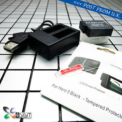 Battery Charger+AHDBT-501 BT-501 Battery+Screen Protector for GoPro Hero5 Hero 5