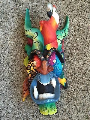 Boruca Mask - Costa Rica Indian Hand Carved, Hand Painted Art - diablo design