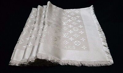 CLASSY NEW Genuine LOUIS VUITTON Monogram LV Beige Silk Wool Shawl Scarf M71336