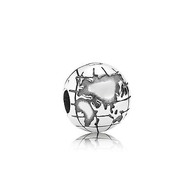 Authentic Pandora Charm Sterling Silver  Globe Clip 791182