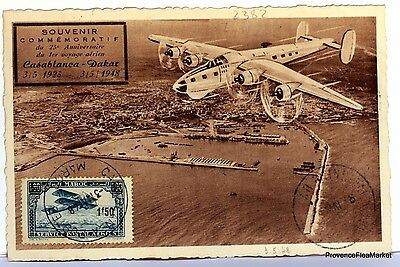 Carte Maximum  Maroc 1948 Avion Casa Dakar  Flandrin    Av88