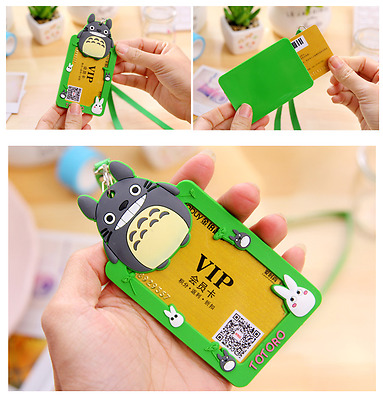 Green Totoro Rubber Opal Card ID Holder Name Tag + Strap / Lanyard