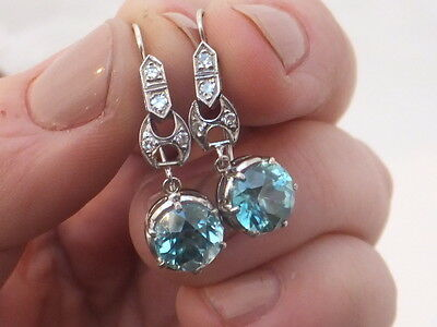 art deco 18ct white gold diamond and 1.3/4ct blue zircon drop dangly earrings