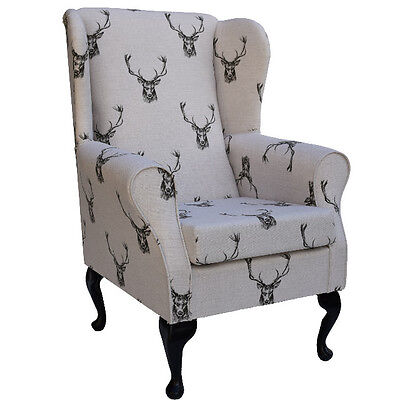 Fireside Wingback Chair in a Designer Stag Print Fabric - FREE UK DELIVERY