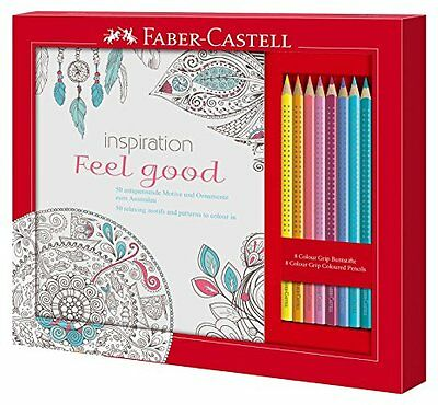 Faber-Castell 201434 - Ausmalset Feel Good mit 8 Colour GRIP Buntstiften