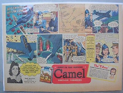 Camel Cigarette Ad: Navy Dive Bomber and Torpedo Diver Half or Tabloid Page