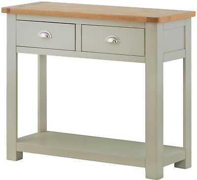 Windermere Sage Grey/Oak Top 2 Drawer Console Table Fully Assembled