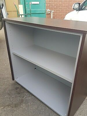 Dark wood effect office bookcase with a Grey inside / office shelf unit