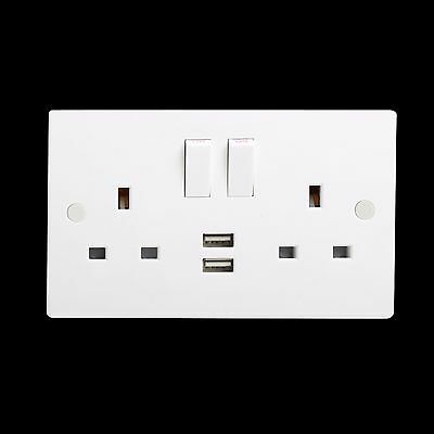 13A 2G Double Switched Socket with Dual USB Charger 5V DC 2A (2 x 1000mA)