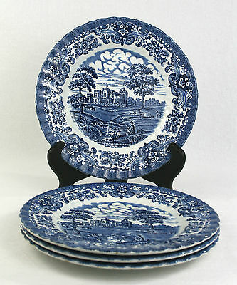 British Anchor Ironstone Old Country Castles Tea Plates Set of 4 Blue & White