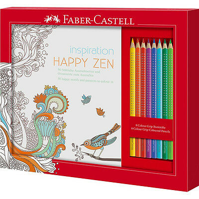 Faber-Castell 201433 - Ausmalset Happy Zen mit 8 Colour GRIP Buntstiften