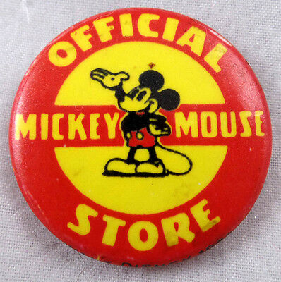 1937 Vintage Official Mickey Mouse Store Pinback / Button