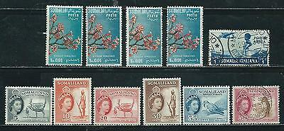 Somalia & Somaliland Protectorate - 11 old stamps mixed - Years 1936 to 1956