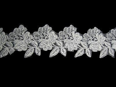 """Unotrim 3.5"""" White Rose Flower Embroidered Sheer Organza Lace Trim By Yardage"""