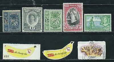Tonga - 24 stamps mixed - Years 1897 to 1985...Embossed Coin stamps, etc.