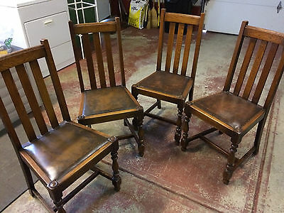 Antique English Oak Dining Chairs (set of 4)