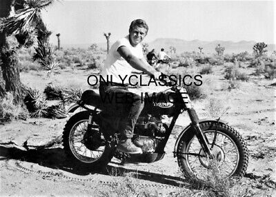 Actor Cool Dude Steve Mcqueen Triumph Motorcycle Photo Desert Racing Dirt Bike