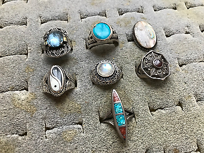 Vintage Lot Of 7 Sterling Silver 925 Native American Turquoise Gemstone Rings
