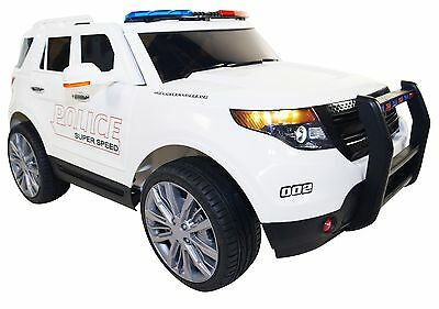2017 Ford Explorer Police Battery Powered Electric Ride On Kids Toy Car RC White