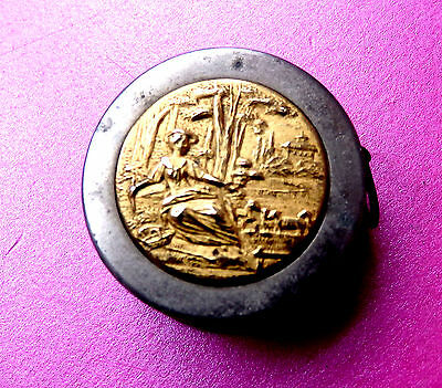Antique Metal Sewing Retracting Tape Measure,gilded Lady& Sheep Scene Top