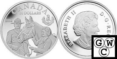 2012 'Queen in Canada with the RCMP' Proof $20 Silver 1oz .9999 Fine (12981)