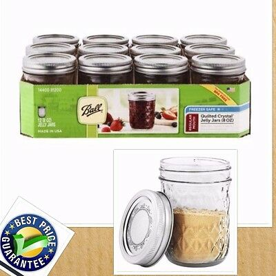Ball Regular Mouth 12 Count 8 oz Quilted Crystal Jelly Mason Jars Freezer Safe