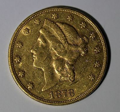 Piece or 20 dollars USA Liberty 1878 S 20$ gold coin Eagle