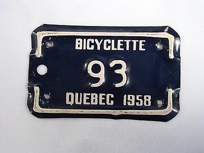 1958 QUEBEC Bicycle License Plate #93