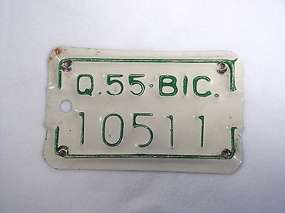 1955 QUEBEC Bicycle License Plate #10511